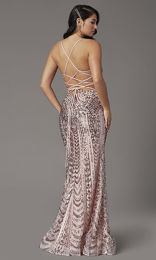 Image of sequin-embellished JVNX by Jovani long prom dress. Style: JO-JVNX03049 Back Image