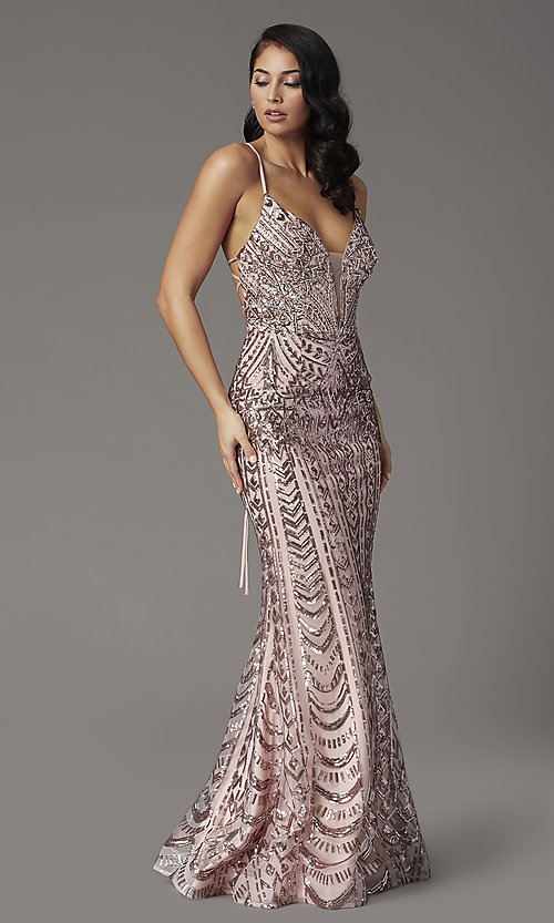 Image of sequin-embellished JVNX by Jovani long prom dress. Style: JO-JVNX03049 Detail Image 1