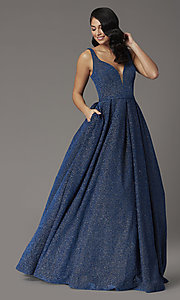 Image of a-line long glitter JVNX by Jovani navy prom dress. Style: JO-JVNX03107 Front Image