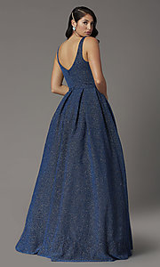 Image of a-line long glitter JVNX by Jovani navy prom dress. Style: JO-JVNX03107 Back Image