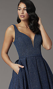 Image of a-line long glitter JVNX by Jovani navy prom dress. Style: JO-JVNX03107 Detail Image 1
