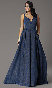 Image of a-line long glitter JVNX by Jovani navy prom dress. Style: JO-JVNX03107 Detail Image 2