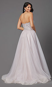 Image of JVNX by Jovani strapless long glitter prom dress. Style: JO-JVNX03511 Back Image