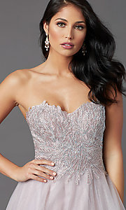 Image of JVNX by Jovani strapless long glitter prom dress. Style: JO-JVNX03511 Detail Image 1