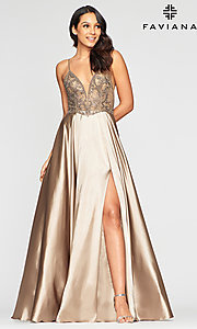 Image of sheer-bodice Faviana long sexy formal prom dress. Style: FA-S10401 Detail Image 1