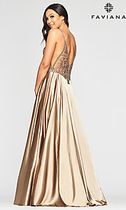 Image of sheer-bodice Faviana long sexy formal prom dress. Style: FA-S10401 Detail Image 2