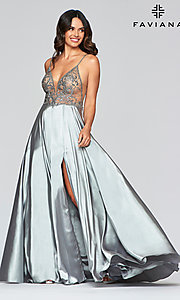 Image of sheer-bodice Faviana long sexy formal prom dress. Style: FA-S10401 Detail Image 3