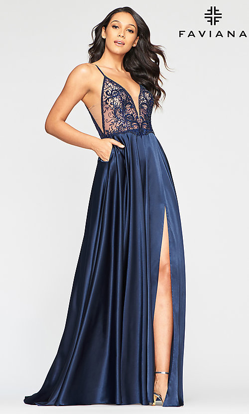 Image of sheer-bodice Faviana long sexy formal prom dress. Style: FA-S10401 Front Image
