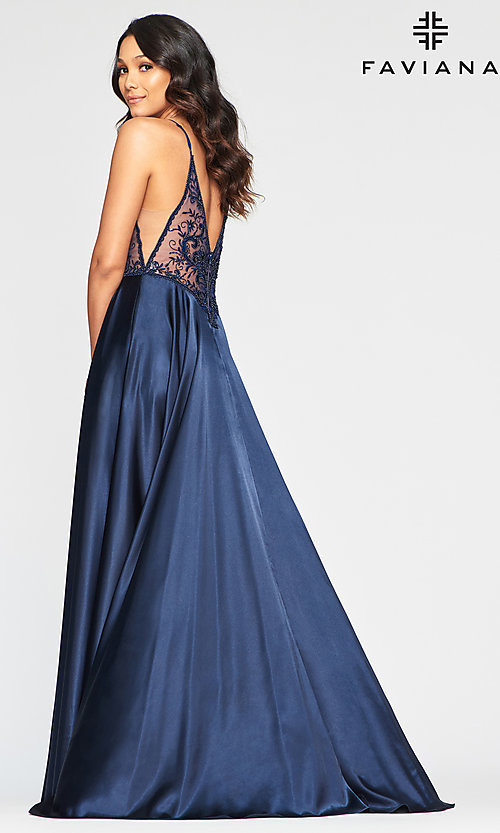 Image of sheer-bodice Faviana long sexy formal prom dress. Style: FA-S10401 Back Image