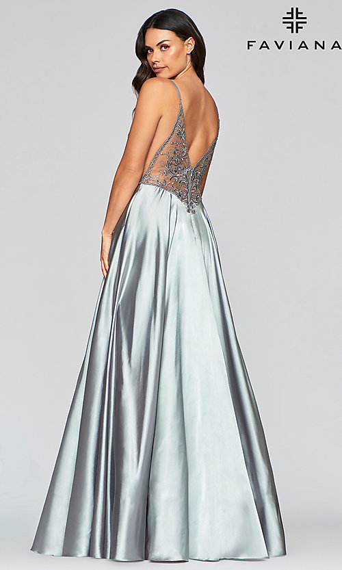 Image of sheer-bodice Faviana long sexy formal prom dress. Style: FA-S10401 Detail Image 4