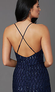 Image of navy blue backless long sequin formal prom dress. Style: MCR-PL-2860 Detail Image 1