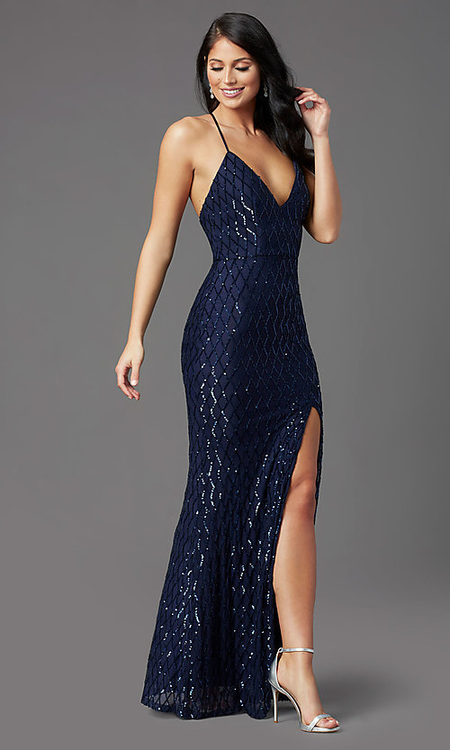 Image of navy blue backless long sequin formal prom dress. Style: MCR-PL-2860 Front Image