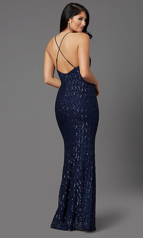 Image of navy blue backless long sequin formal prom dress. Style: MCR-PL-2860 Back Image