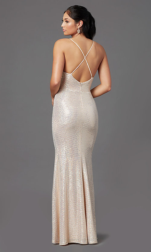 Image of long metallic glitter prom dress in blush pink. Style: MCR-PL-2923 Back Image