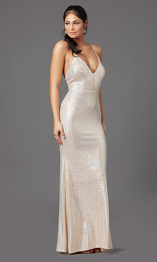 Image of long metallic glitter prom dress in blush pink. Style: MCR-PL-2923 Front Image