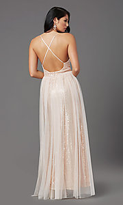 Image of long low-v-neck sequin prom dress with tulle. Style: MCR-PL-2904 Back Image