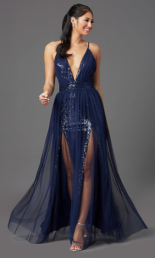 Image of long low-v-neck sequin prom dress with tulle. Style: MCR-PL-2904 Detail Image 6