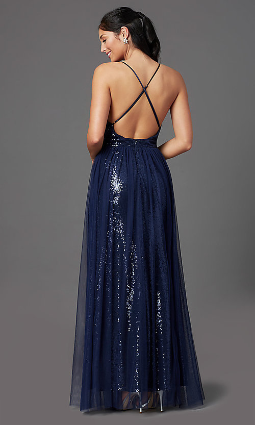 Image of long low-v-neck sequin prom dress with tulle. Style: MCR-PL-2904 Detail Image 4