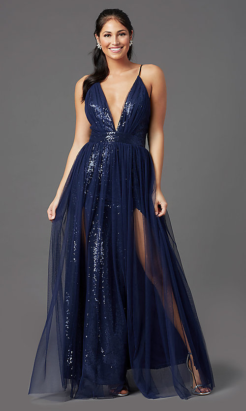 Image of long low-v-neck sequin prom dress with tulle. Style: MCR-PL-2904 Detail Image 3