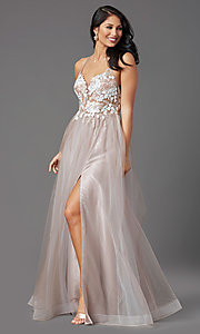 Image of illusion-bodice long tulle formal prom dress. Style: NA-PL-E372 Front Image