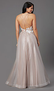 Image of illusion-bodice long tulle formal prom dress. Style: NA-PL-E372 Back Image