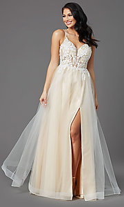 Image of illusion-bodice long tulle formal prom dress. Style: NA-PL-E372 Detail Image 3