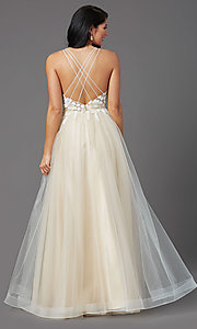 Image of illusion-bodice long tulle formal prom dress. Style: NA-PL-E372 Detail Image 4