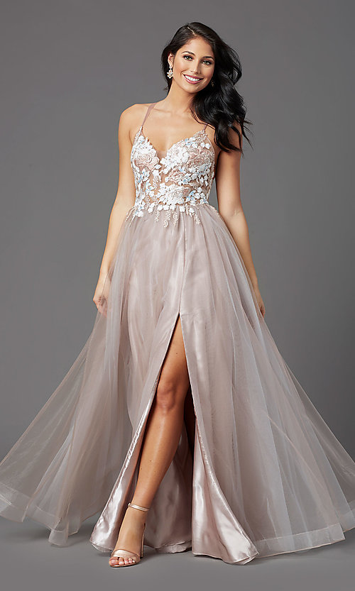 Image of illusion-bodice long tulle formal prom dress. Style: NA-PL-E372 Detail Image 2