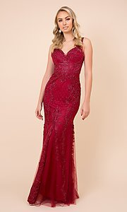 Image of rose pink long formal prom dress with embroidery. Style: NA-PL-A398 Detail Image 3