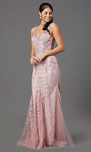 Image of rose pink long formal prom dress with embroidery. Style: NA-PL-A398 Detail Image 2