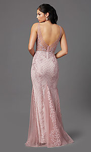 Image of rose pink long formal prom dress with embroidery. Style: NA-PL-A398 Back Image