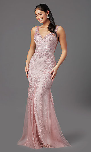 Rose Pink Long Formal Prom Dress with Embroidery