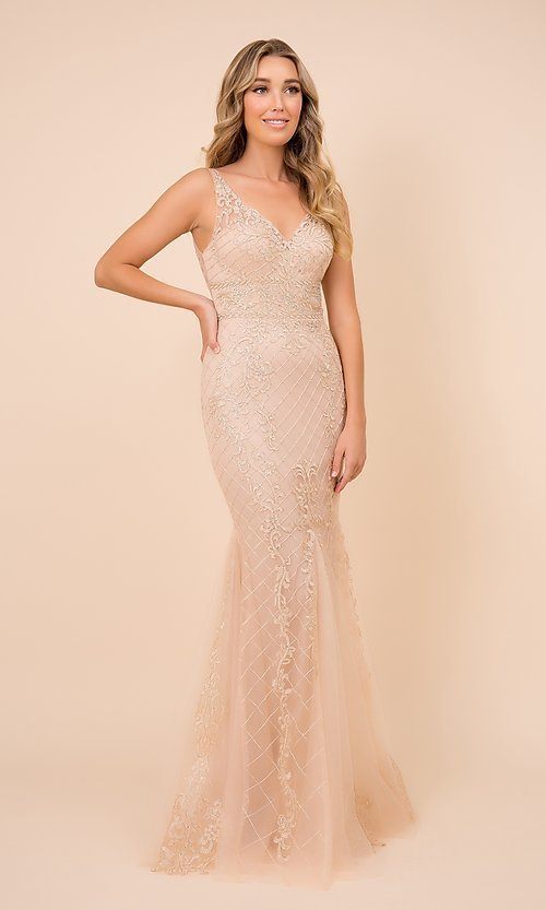 Image of rose pink long formal prom dress with embroidery. Style: NA-PL-A398 Detail Image 4
