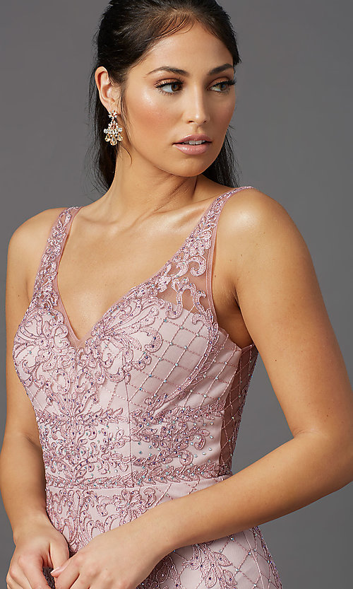 Image of rose pink long formal prom dress with embroidery. Style: NA-PL-A398 Detail Image 1