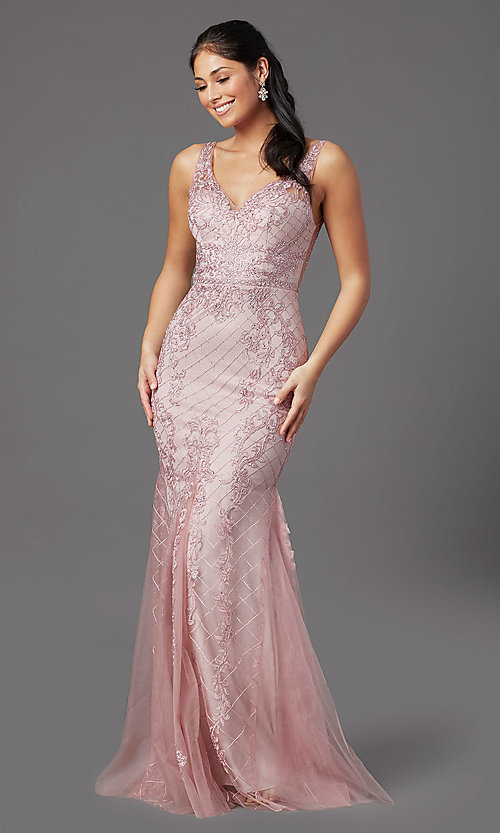 Image of rose pink long formal prom dress with embroidery. Style: NA-PL-A398 Front Image