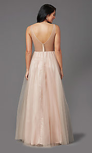 Image of sequin-bodice long tulle sparkly prom dress. Style: NA-PL-G388 Back Image