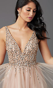 Image of sequin-bodice long tulle sparkly prom dress. Style: NA-PL-G388 Detail Image 1