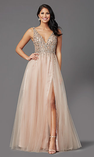 Sequin-Bodice Long Tulle Sparkly Prom Dress