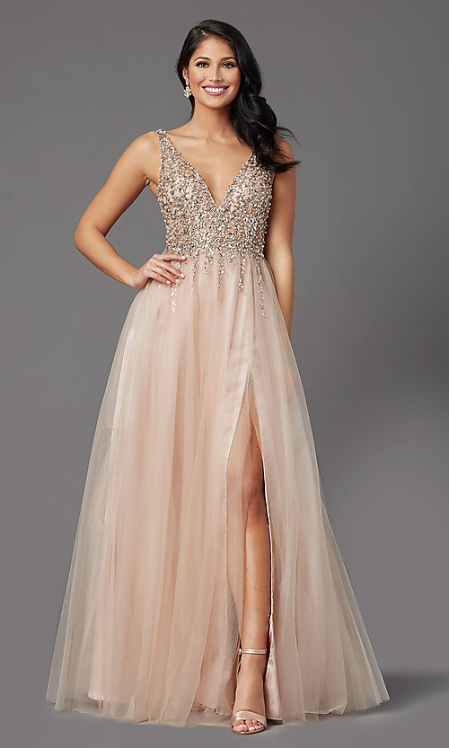 Image of sequin-bodice long tulle sparkly prom dress. Style: NA-PL-G388 Front Image