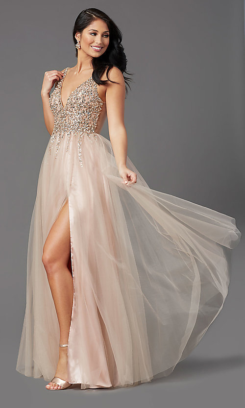 Image of sequin-bodice long tulle sparkly prom dress. Style: NA-PL-G388 Detail Image 2