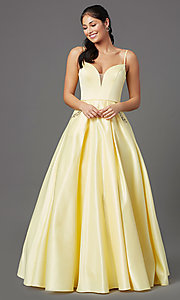 Image of open-back lemon yellow prom dress with pockets. Style: NA-PL-N308 Front Image