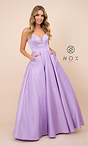 Image of open-back lemon yellow prom dress with pockets. Style: NA-PL-N308 Detail Image 5
