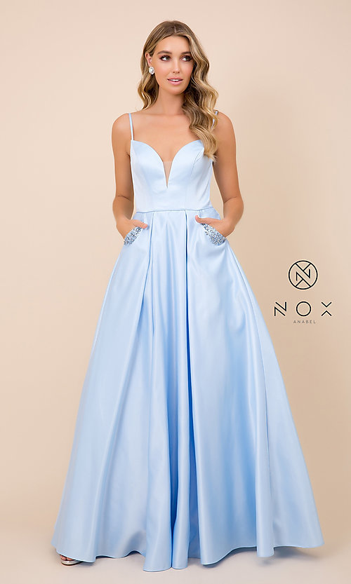 Image of open-back lemon yellow prom dress with pockets. Style: NA-PL-N308 Detail Image 7