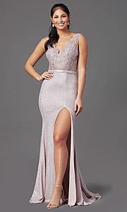 Image of sparkly embroidered-bodice long formal prom dress. Style: NA-E373 Detail Image 3