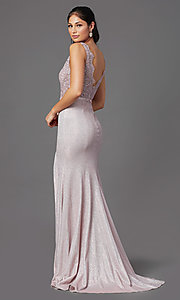 Image of sparkly embroidered-bodice long formal prom dress. Style: NA-E373 Detail Image 4