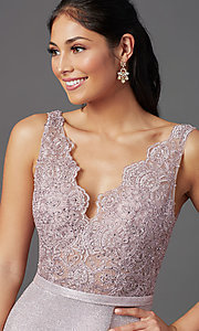 Image of sparkly embroidered-bodice long formal prom dress. Style: NA-E373 Detail Image 5