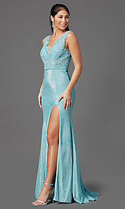 Image of sparkly embroidered-bodice long formal prom dress. Style: NA-E373 Detail Image 7