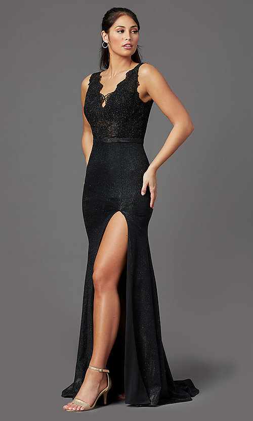 Image of sparkly embroidered-bodice long formal prom dress. Style: NA-E373 Front Image