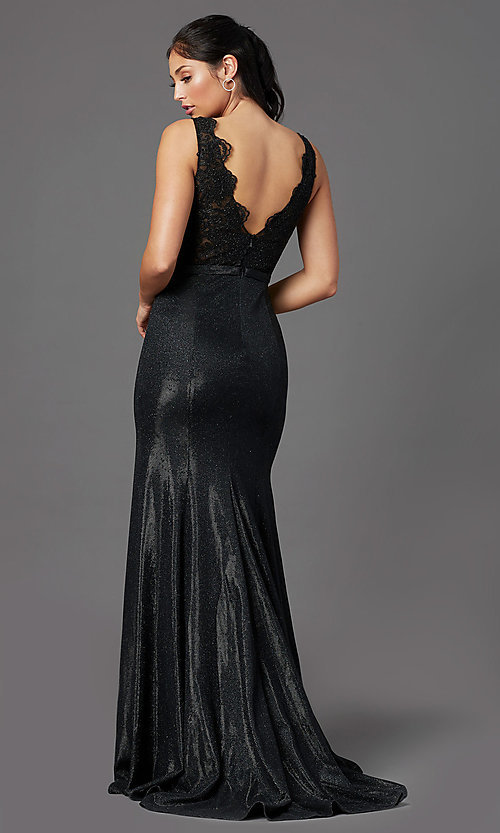 Image of sparkly embroidered-bodice long formal prom dress. Style: NA-E373 Back Image