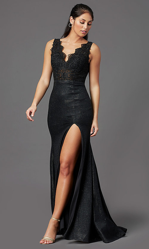 Image of sparkly embroidered-bodice long formal prom dress. Style: NA-E373 Detail Image 2